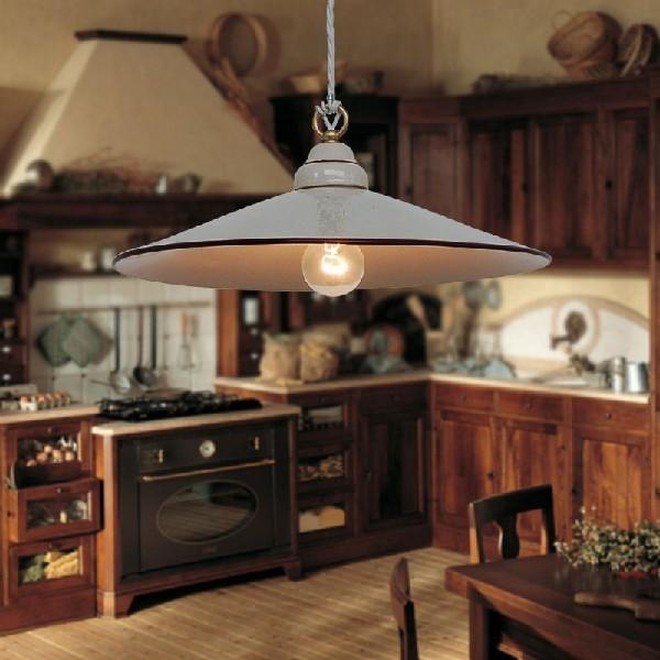Lampadario ceramica decorata illuminazione cucine rustiche country - Lampadari cucina rustica ...