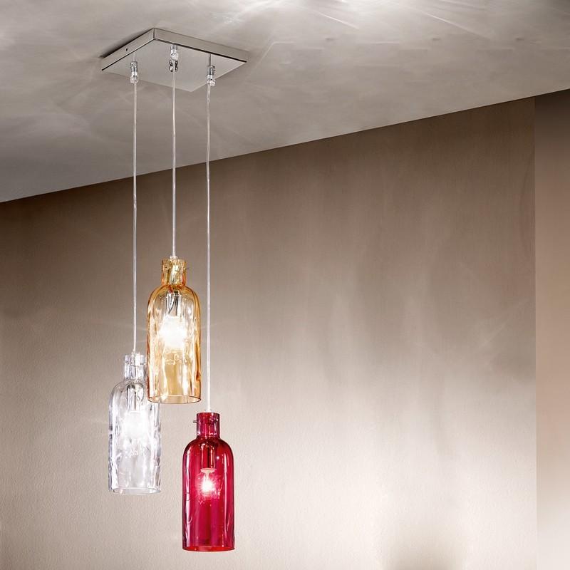Bottiglia lampada a sospensione a 3 luci vetro soffiato - Luci sospensione design ...