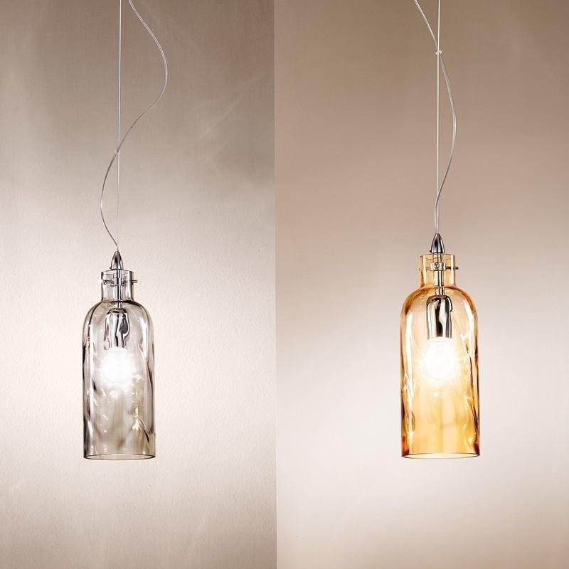 Bottiglia lampada a sospensione 2 luci in vetro soffiato - Luci sospensione design ...