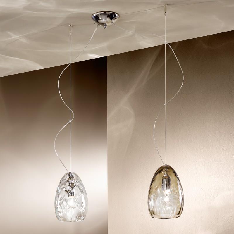 Clivia elegante lampada sospensione cristallo vetro - Luci sospensione design ...