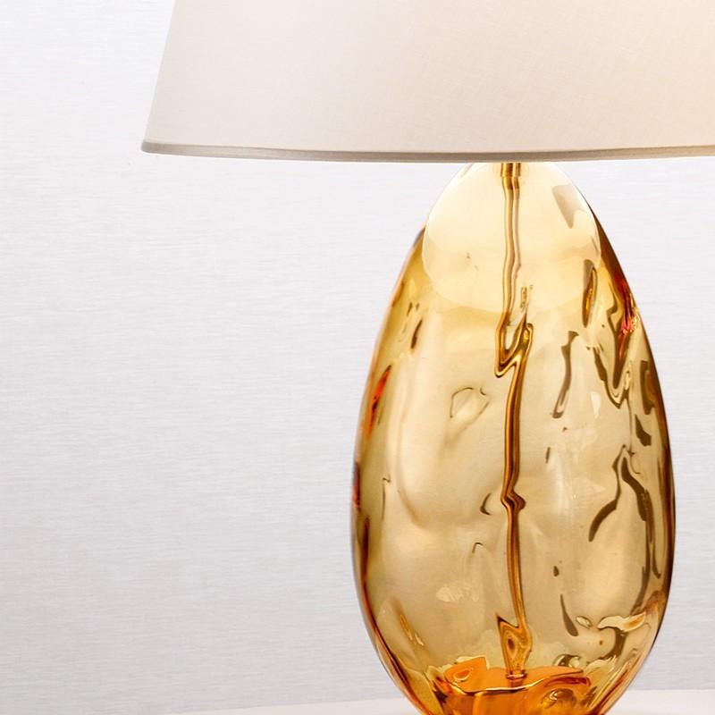 Kiara Moderna Lampada Da Tavolo 2606 Lg In Vetro Soffiato Con Paralume