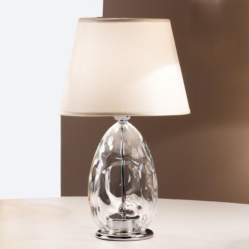 Kiara moderna lampada da tavolo 2606 lp in vetro soffiato con paralume - Lampada da tavolo moderna ...