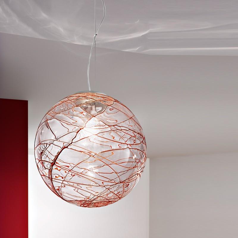 GOMITOLO Lampada a Sospensione d. 45  in Vetro Soffiato Decorato Design Moderno