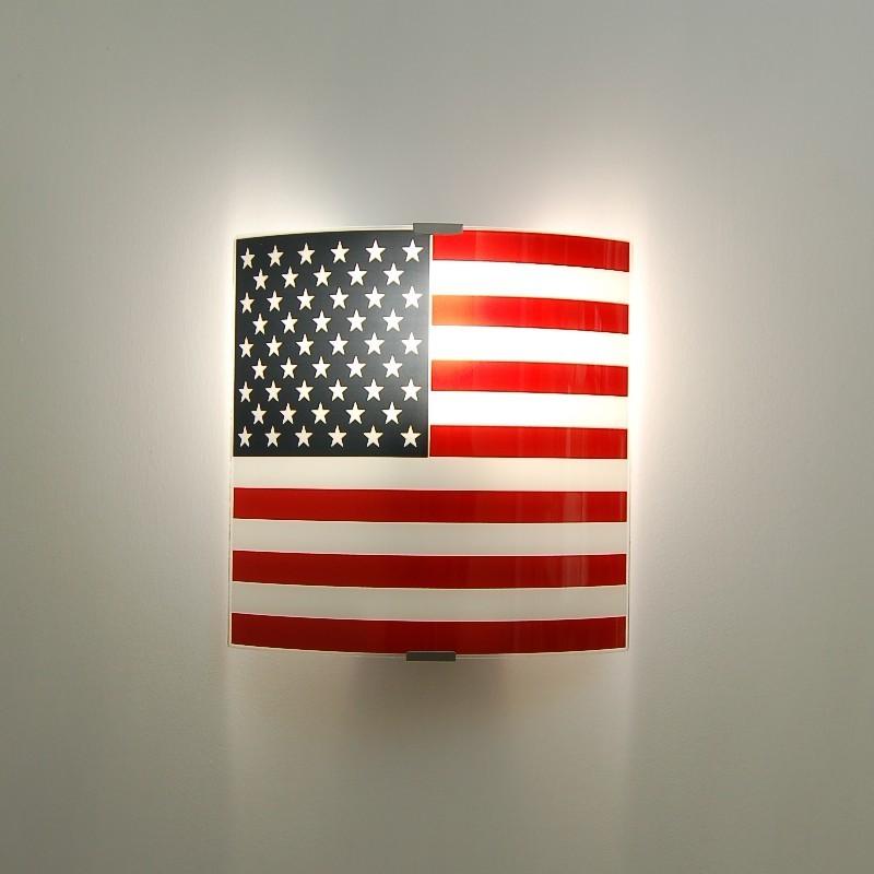 USA FLAG Applique screen-Printed American Flag