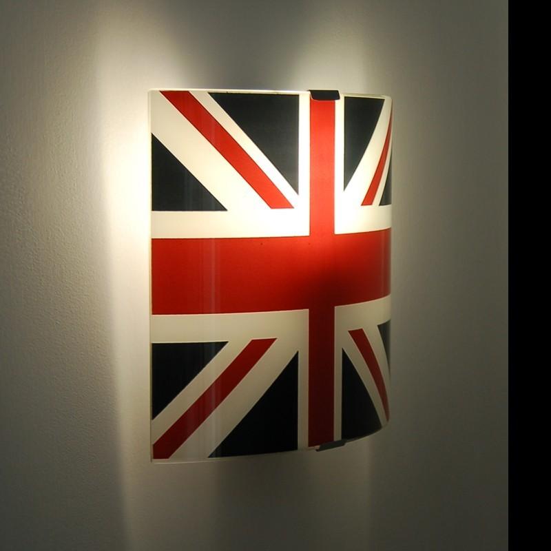 Lampada da parete in vetro serigrafia bandiera inglese for Applique camera bambini