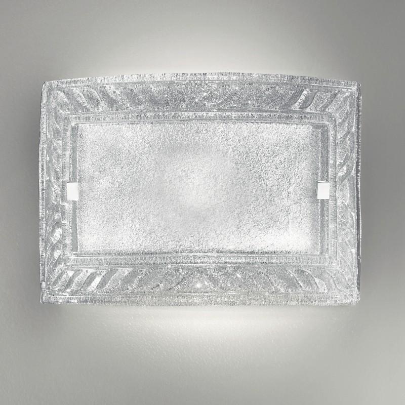 Plafoniera rettangolare vetro cristallo graniglia giada for Graniglia di vetro