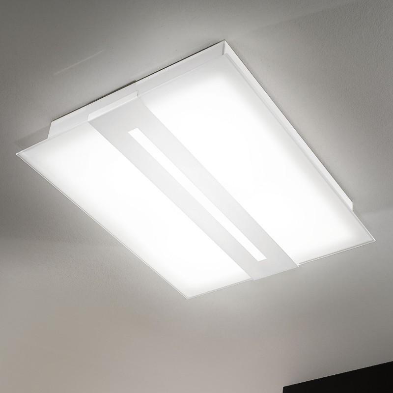 lampadario rettangolare da soffitto in vetro satinato