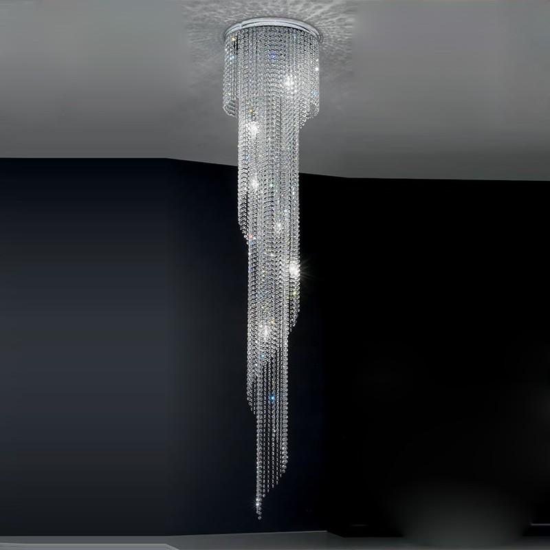 QUEEN Scenografica Lampada a Soffitto con Cristalli a Cascata Design Moderno