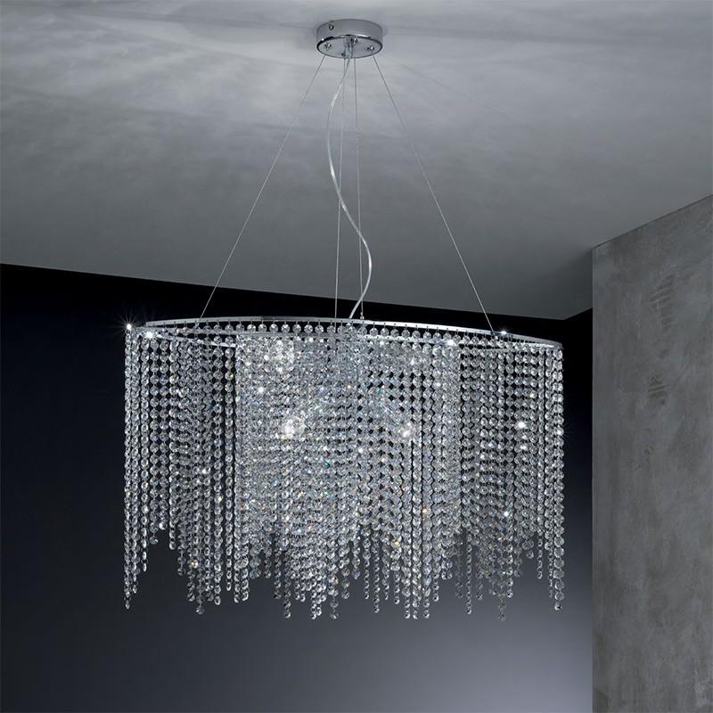 QUEEN Sospensione Ellittica con Cristalli a Cascata Design Moderno