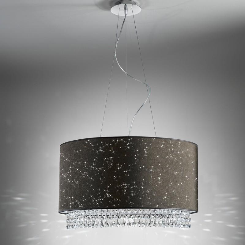 Lampada sospensione paralume moderno glitter di antea luce illuminazione - Lampadario sospensione camera da letto ...