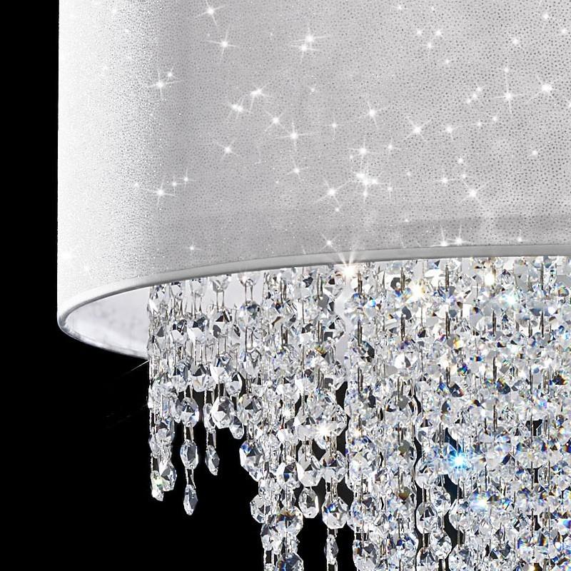 Lampada sospensione paralume e cristalli cascata glitter for Lampadari pendenti
