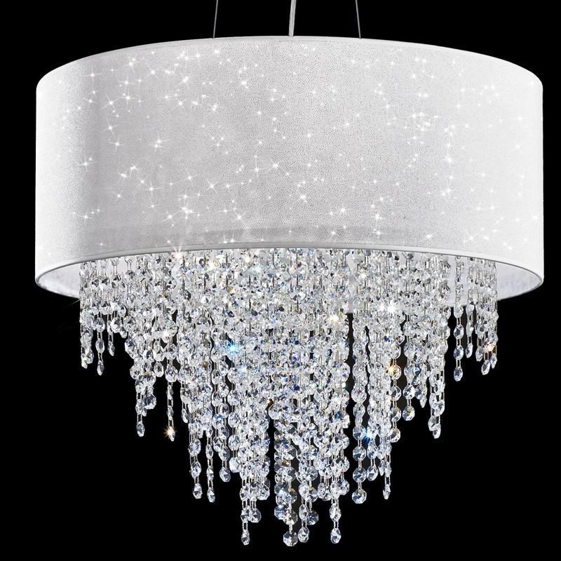GLITTER Lampadario Design Moderno con Paralume e Cristalli a Cascata