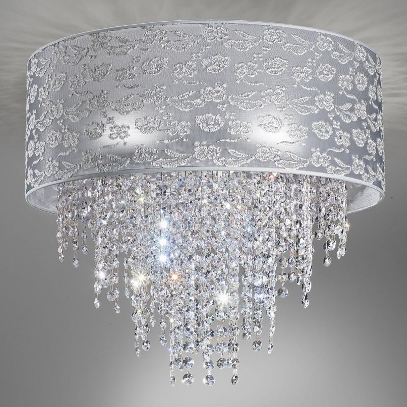 Chandelier Ceiling Light Modern Crystal Waterfall Violet