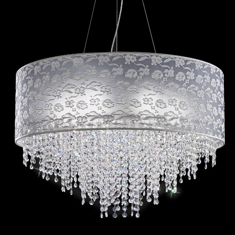 Lampadario sospensione moderno cristalli violetta di for Lampadari in acciaio moderni