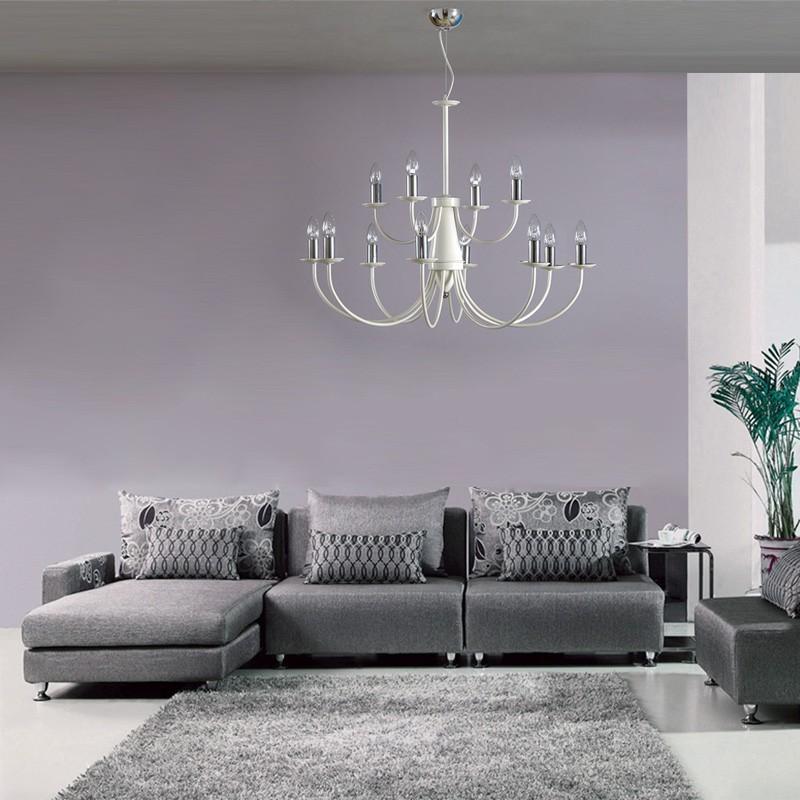 ATELIER Lampadario Grande a Braccia 12 Luci Bianco Lucido Design
