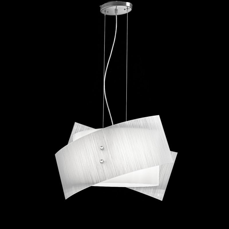 FOLD Chandelier Suspension Modern Glass White or Dove