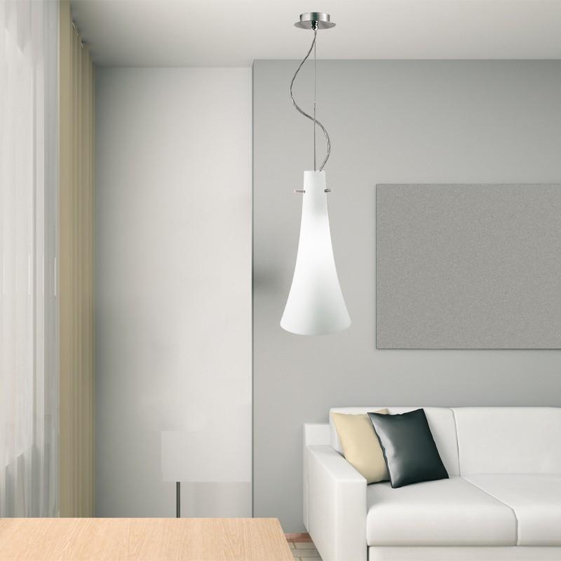 SLIM Lampada Sospensione Vetro Soffiato Design Moderno