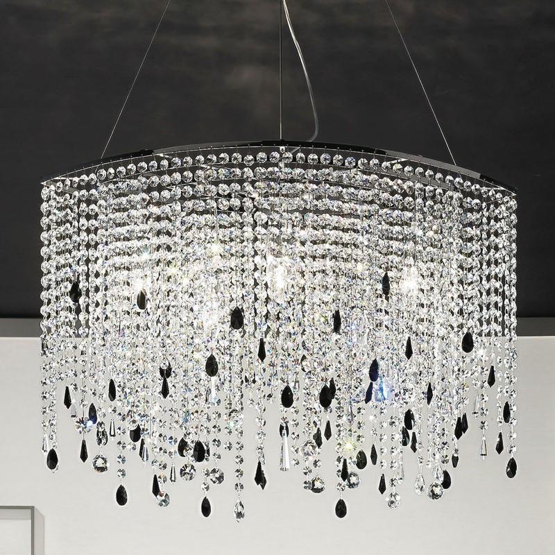 Lampadario ovale allungato design moderno alyssa antea luce for Lampadari x bagno
