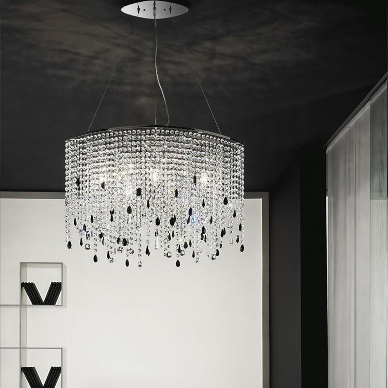 ALYSSA Anta luce, Lampadario Ovale Design Moderno con Cristalli molati