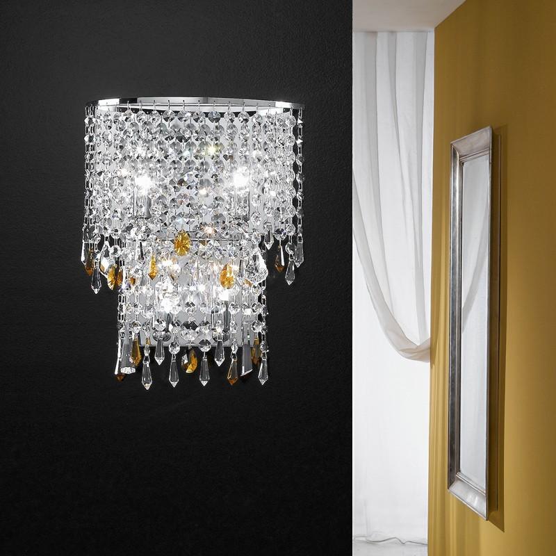 Lampada da parete moderna con pendagli cristallo alyssa antea luce - Applique da parete ikea ...