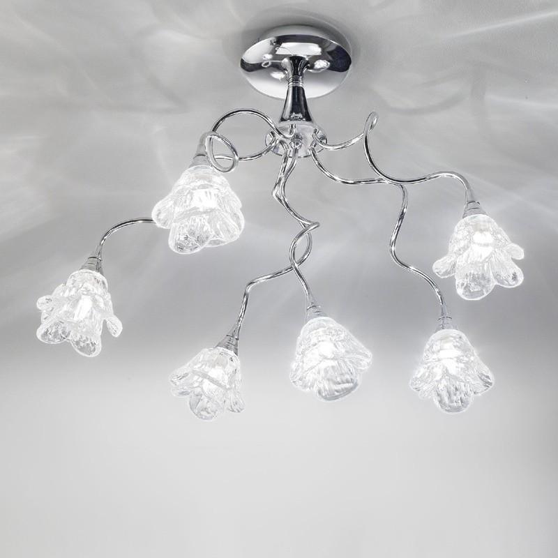 Plafoniera Design Moderno Camera Da Letto.Lampada Plafoniera Cromo Moderno Magnolia Antea Luce Illuminazione