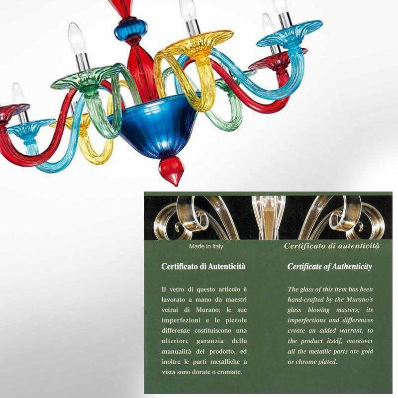 Vetrilamp 954-60 Plafoniera lampadario in Vetro di Murano con foglie