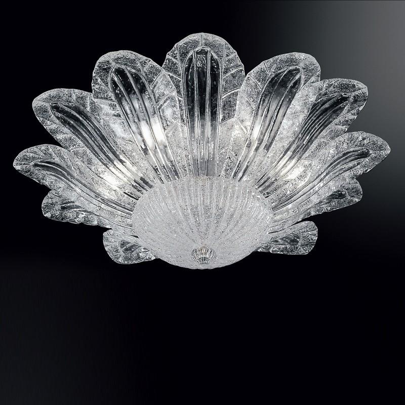Lampadari In Cristallo Di Murano.Ca Fiorita Plafoniera A Foglie Vetro Di Murano D 60