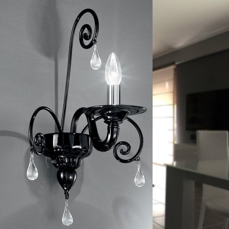 CA' SMERALDA Applique in Vetro Di Murano a 1 luce Design Contemporaneo