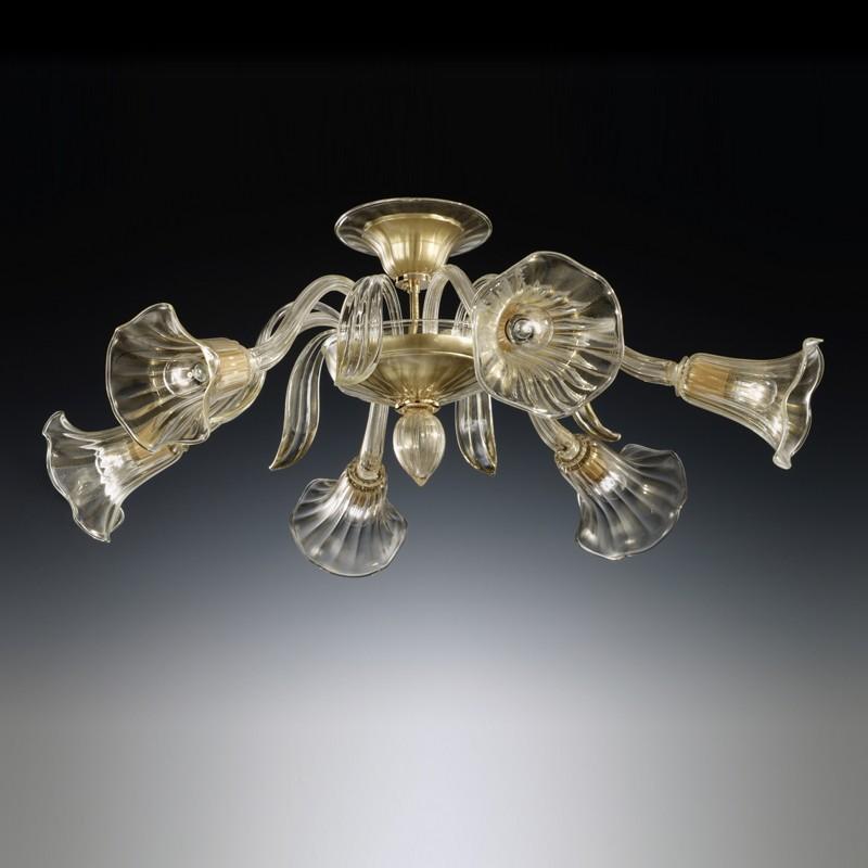 CA' ISABELLA Plafoniera in Vetro Di Murano a 6 luci Design Contemporaneo