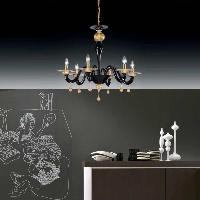 CA' ORCHIDEA Lampadario in Vetro Di Murano Design Contemporaneo
