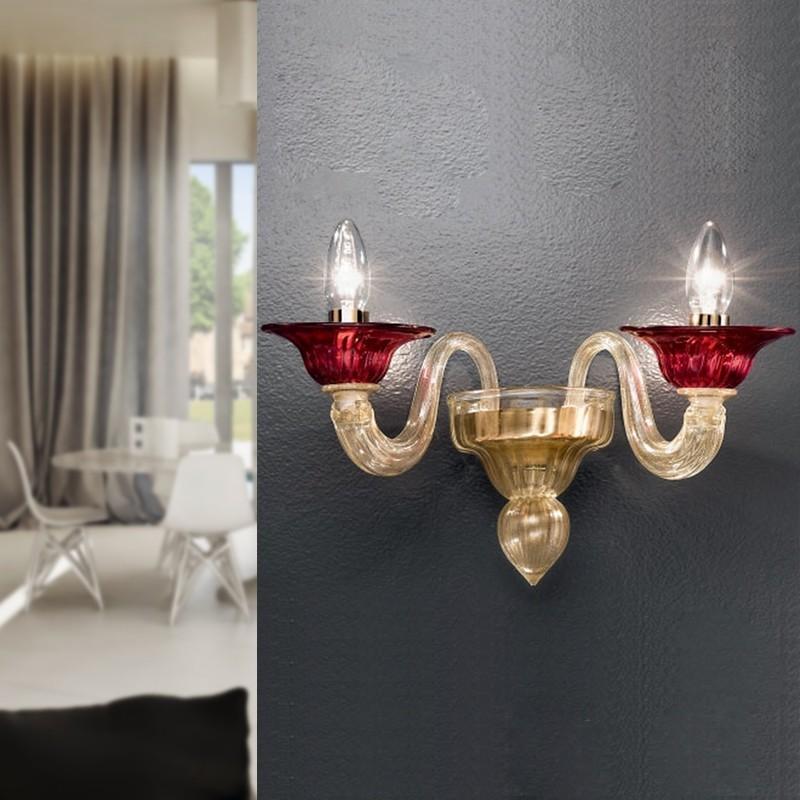 CA' NOVA Applique in Vetro Di Murano a 2 luci Design Contemporaneo