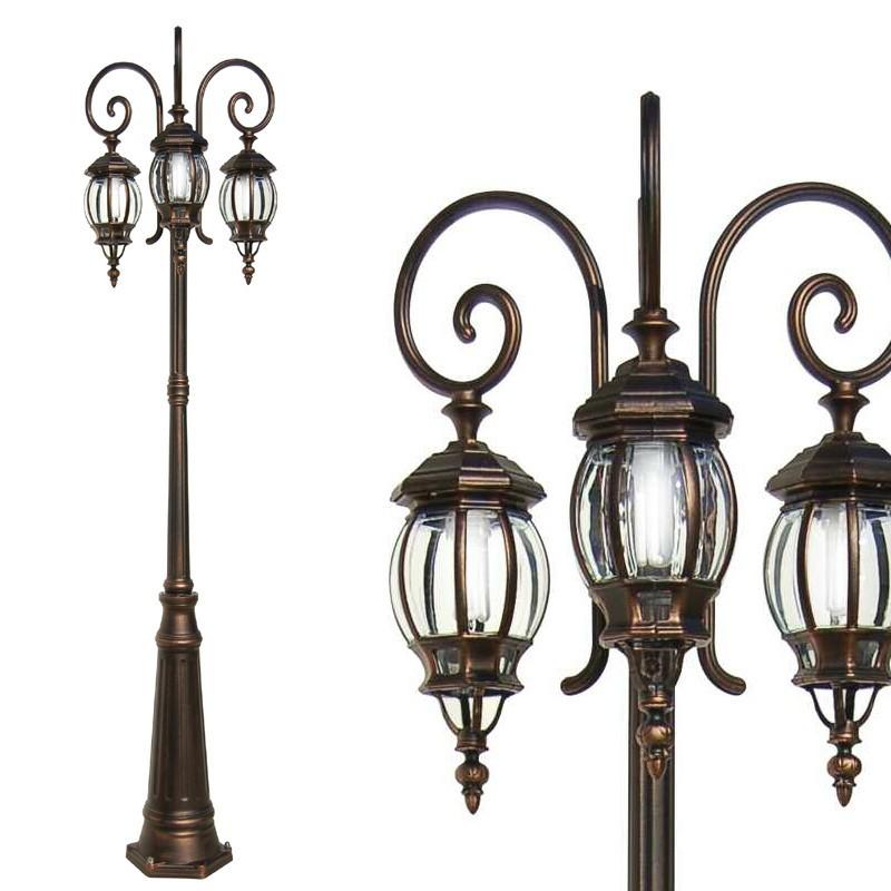Enea lampione 3 luci da esterno giardino classico tradizionale for Lampioni per esterno