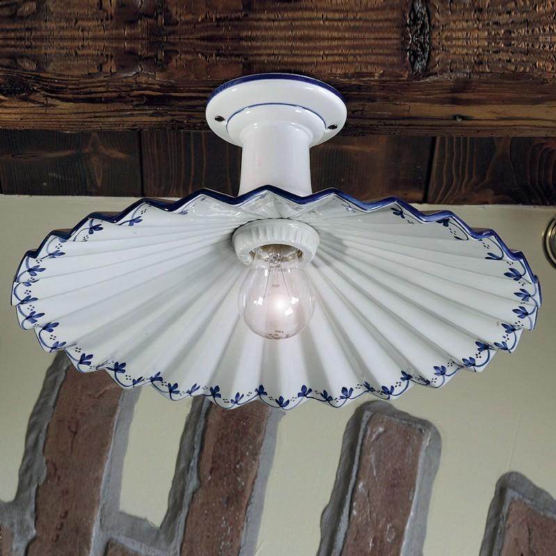 Plafoniera lampadario soffitto ceramica illuminazione taverna cucuna - Lampadari cucina rustica ...