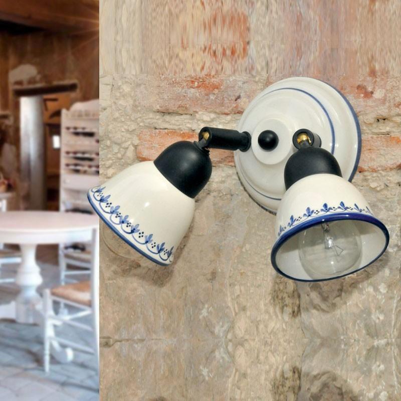 KILA Applique Doppio Spot Orientabile Ceramica Decorata