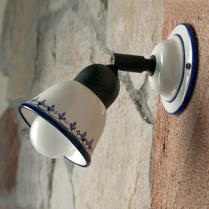 lampada in ceramica spot orientabile con snodo illuminazione bagno