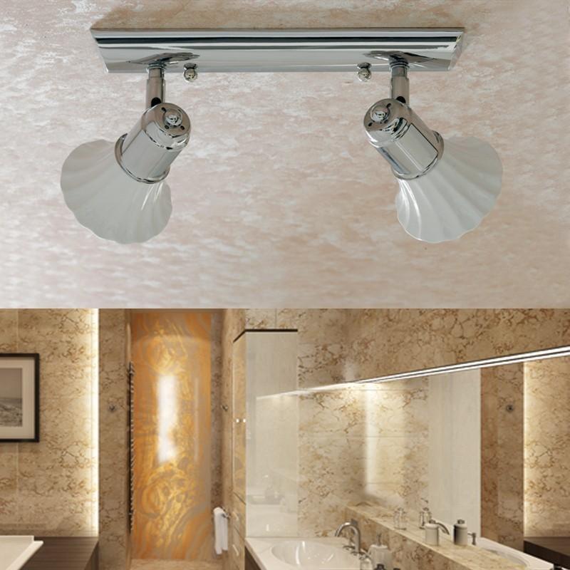 Applique plafoniera doppio spot ceramica bianca - Lampada soffitto bagno ...