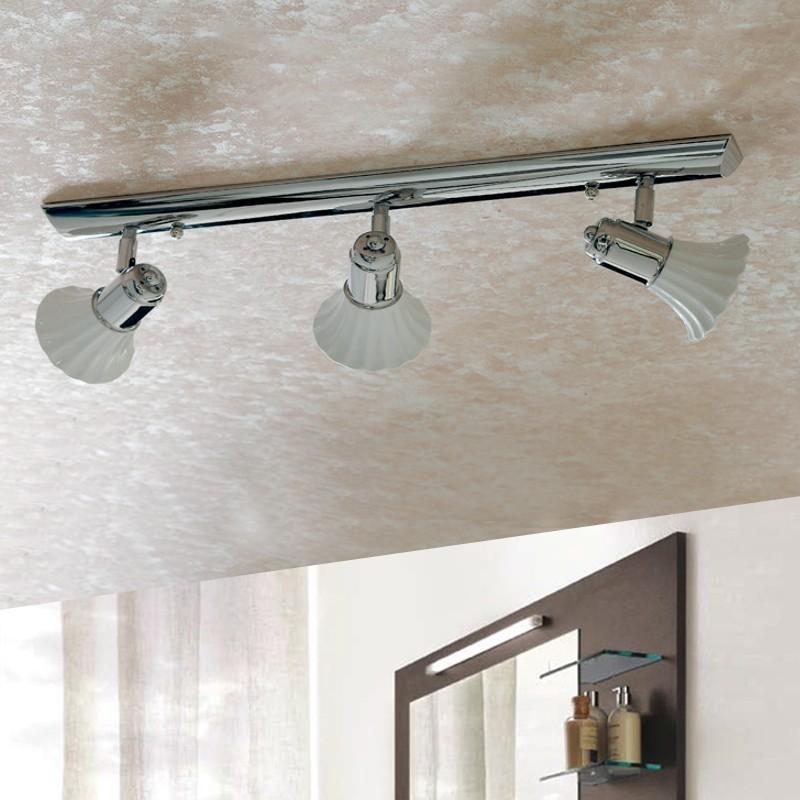 Lampada ceramica parete soffitto spot orientabili con snodo specchio for Lampada bagno soffitto