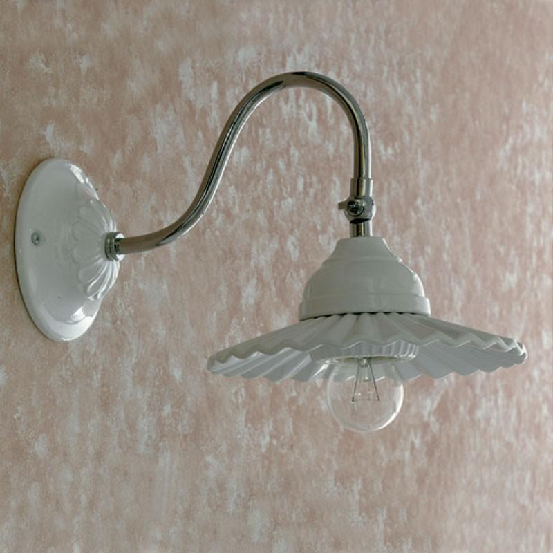 Applique cromo beramica bianca lampada da specchio illuminazione bagno - Applique da bagno ...