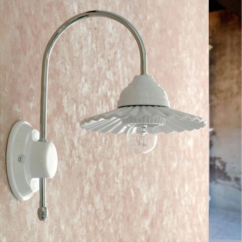 Applique lampada da parete ceramica bianca metallo como - Applique per il bagno ...