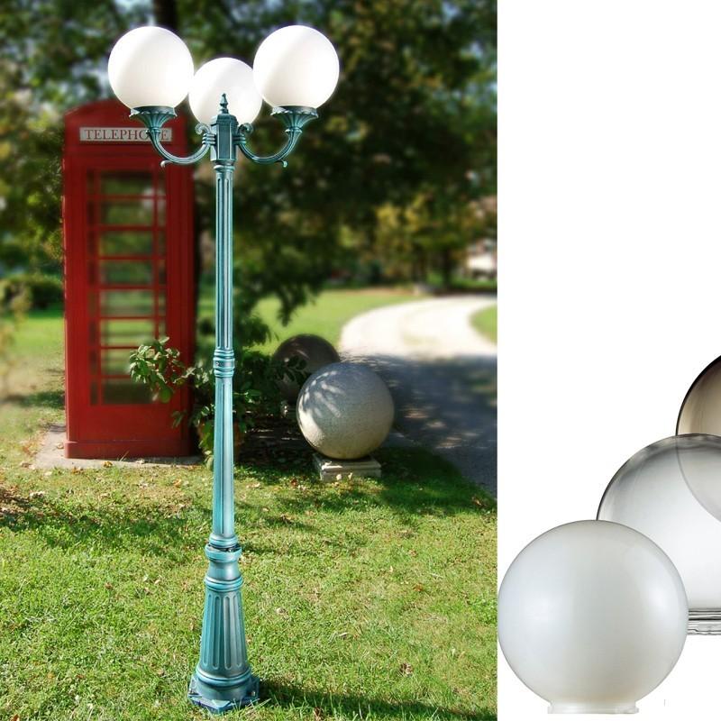 Orione s25 palo lampione a 2 o 3 luci sfera globo d25 - Lampioni da giardino fotovoltaici ...