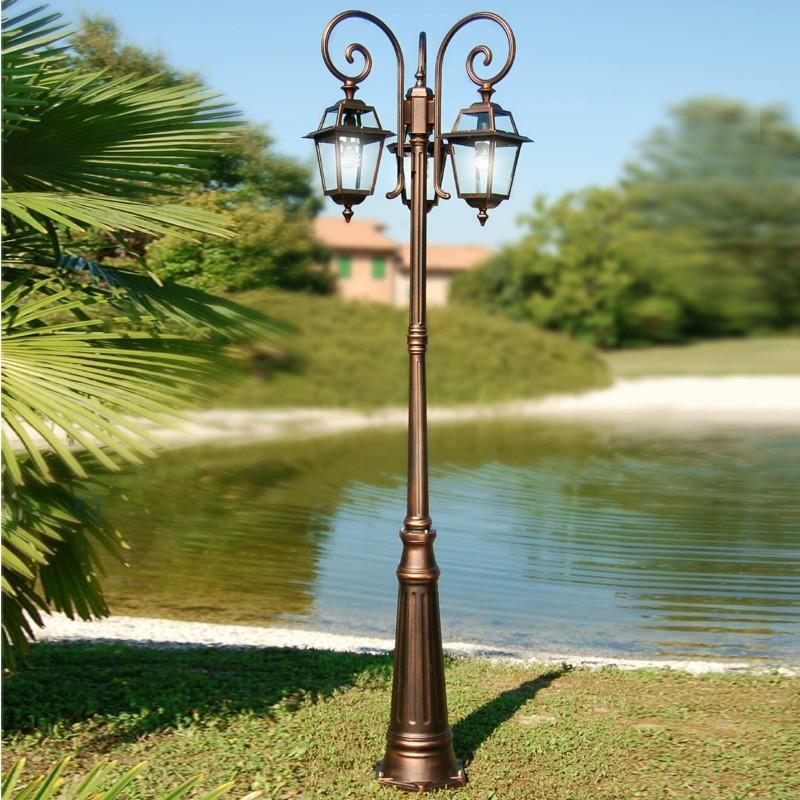 Artemide lampada lanterna palo lampione quadrata classica for Lampioni da giardino a sfera