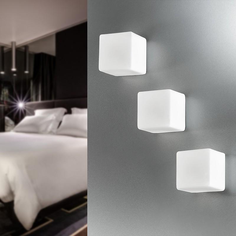 KREA KUBO Applique Cubetto in Vetro Soffiato L.11 Design Moderno