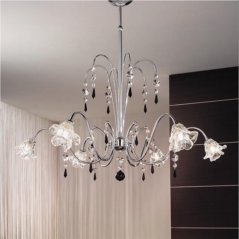 Ginevra lampadario cromo con cristalli e pendagli antea luce - Lampadari colorati design ...