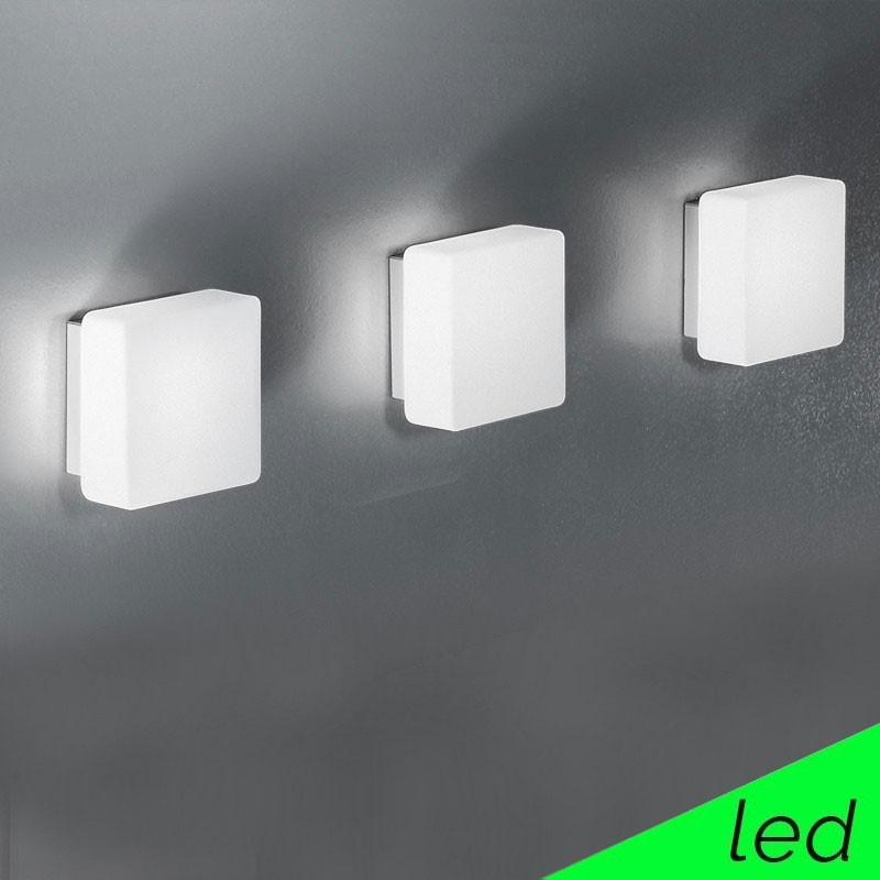 KREA QUADRA LED Mini Applique Plafoniera Vetro Soffiato Quadrato L.11