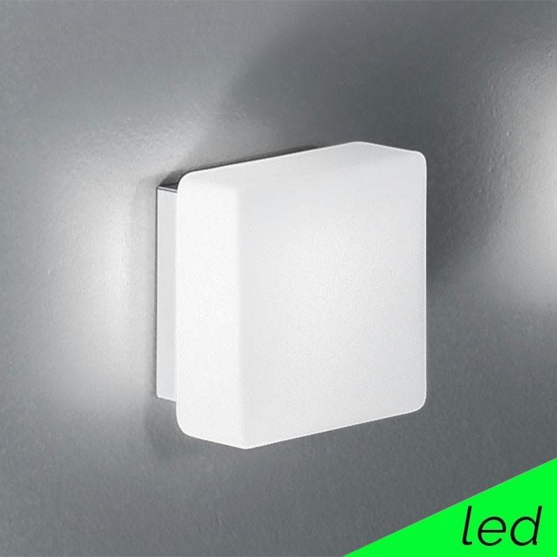 KREA QUADRA LED Applique Plafoniera Vetro Soffiato Quadrato L.16