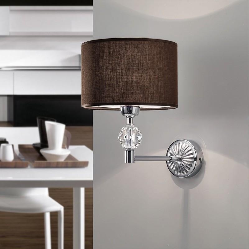 Royal Wall Lamp In Fabric Mocha Modern Design Antea Light