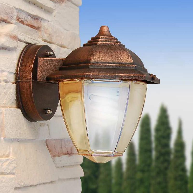 AMBER Mini Applique Lampada a Parete con Vetro Ambra Illuminazione Esterno Giardino