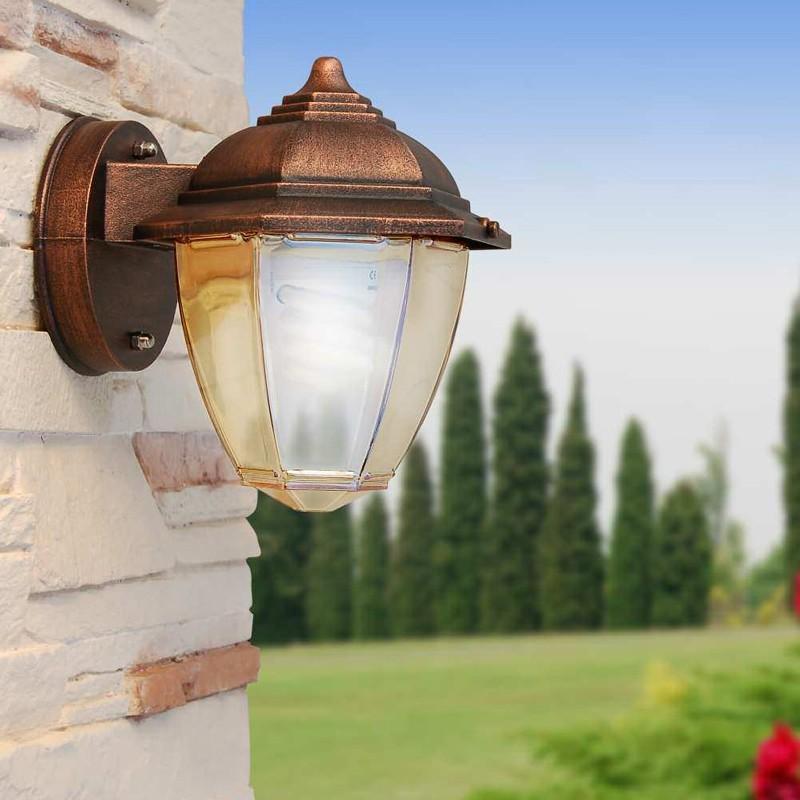 Illuminazione Per Esterni A Parete.Amber Mini Applique Lampada A Parete Con Vetro Ambra Illuminazione Esterno Giardino