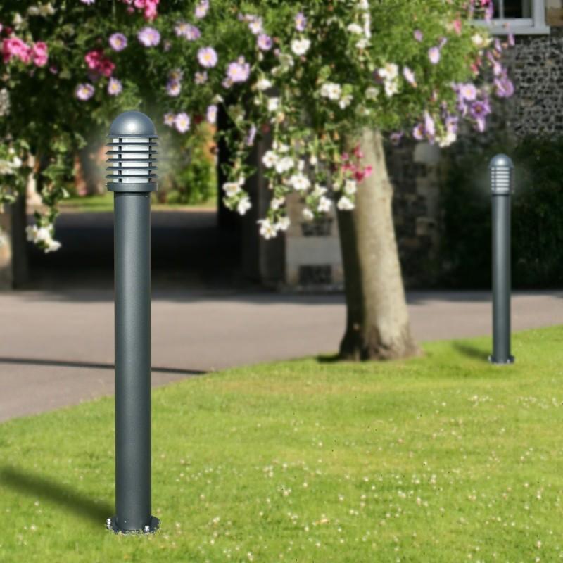 KYLE Paletto Lampioncino Moderno in Alluminio Grigio Antracite Illuminazione Esterno Giardino