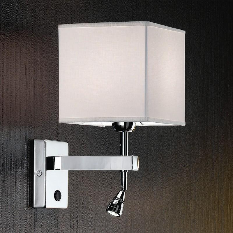 THOR Applique Design con Paralume Quadrato e Luce di Lettura LED